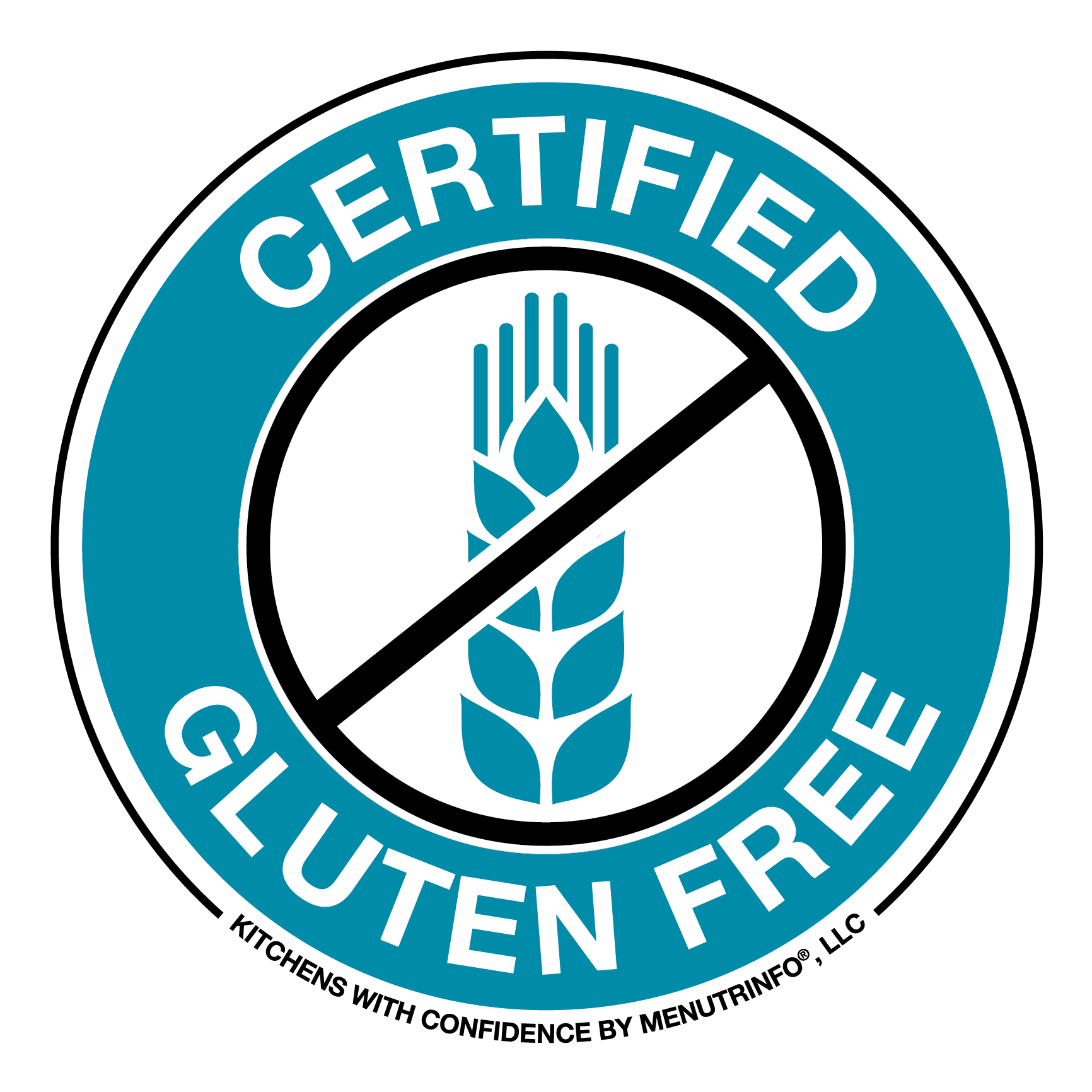 """""""Certified gluten free"""" trademark certification by Kitchens with Confidence"""