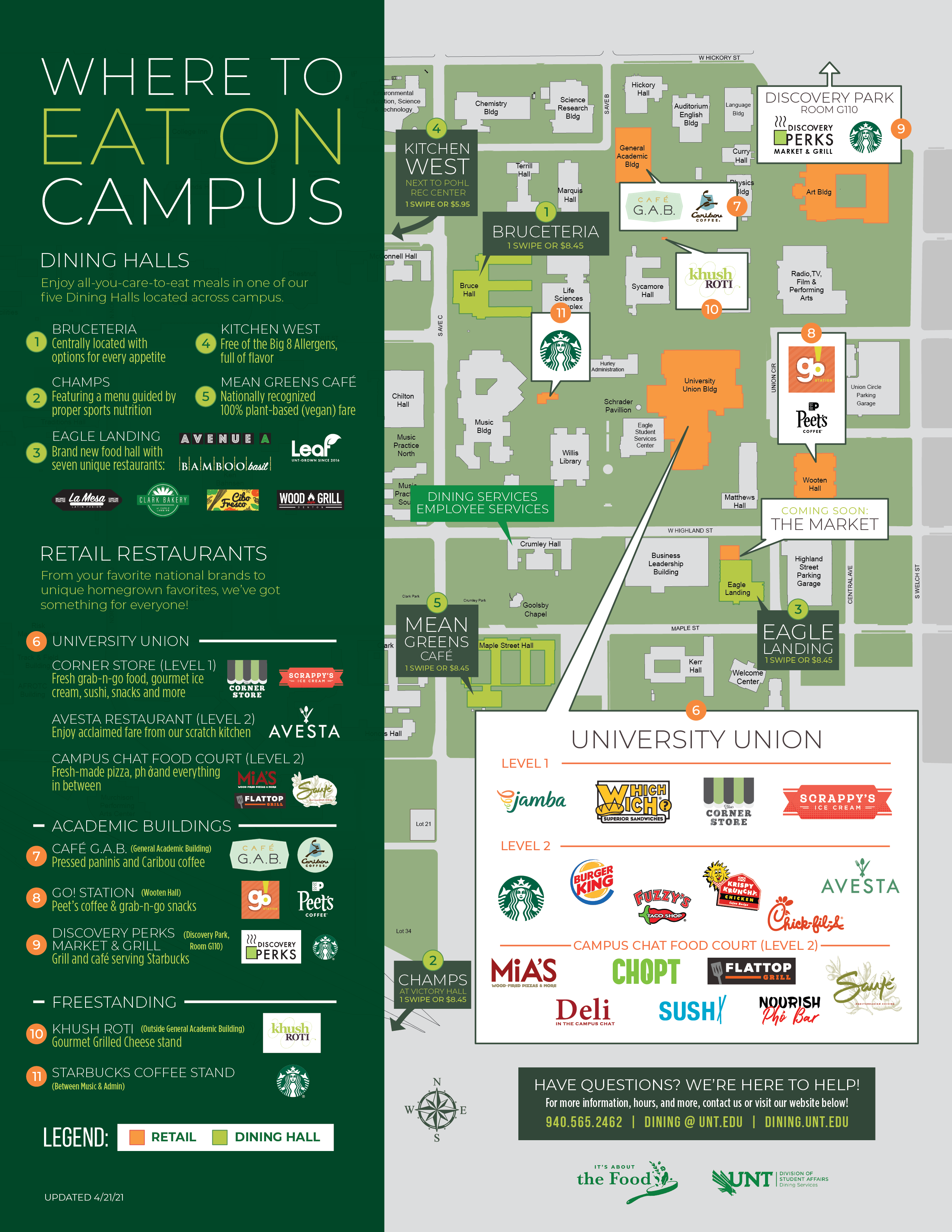 Where to eat on campus map