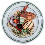 Champs wild rice and chicken with grilled veggies
