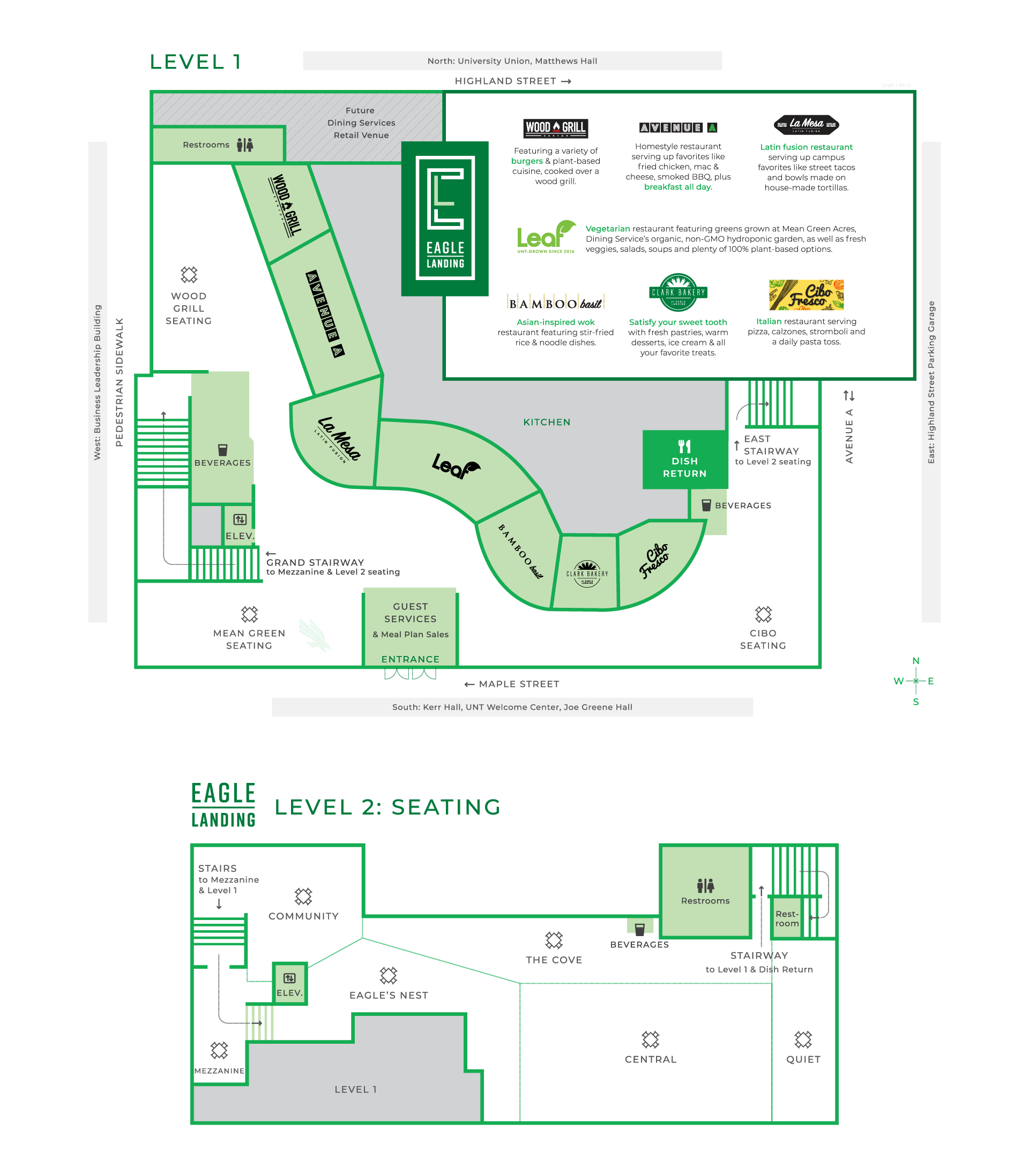 Eagle Landing first and second floor plans showing 7 restaurant concepts and various seating locations, as well as restrooms on each floor and a dish return on the first floor.