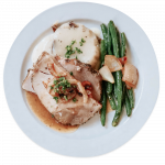 Kitchen West turkey lunch with green beans and mashed potatoes
