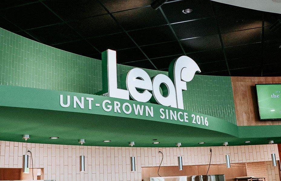 Leaf logo in Eagle Landing
